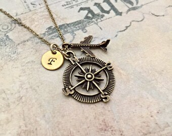 Compass Necklace, Airplane Necklace, Initial Necklace, Travel Necklace, Handstamped Necklace, Best friend Gift, Bronze Charm