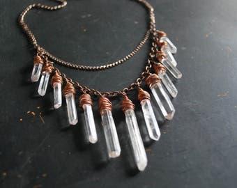 Copper + Quartz Necklace - FREE Shipping - OOAK