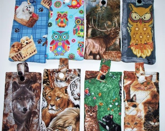 Quilted Eyeglass Case,Your Choice:Kittens,Big Cats,Wolves,Elk,Kaliedescope Owls or Puppy Dogs,Eyeglass Pouch,Snap Closure Pencil Pouch
