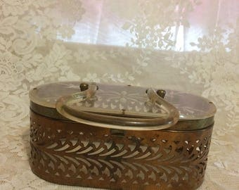 Stunning Brass Metal Purse with Clear  arvef Lucite Lid