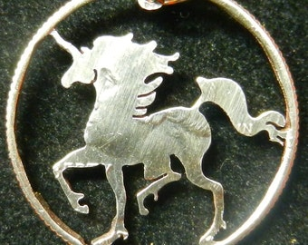 Unicorn hand-cut coin jewelry