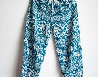 Deep Teal /Blue/Green   Elephant Printed Rayon Harem Pants /Gypsy Pants/Aladdin Pants/Genie Pants/Yoga Pants /Thai Pants