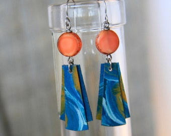 TIDES / Wood Earrings / Women's Jewelry / Gifts For Her / Sustainable / Earrings / Acrylic Painting / Art / Art Jewelry