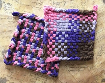 David's Potholders  - Woven Potholders - Cotton Potholders - Purple Pink Lavender and Brown Hot Pad - Cotton Trivet - Handmade -B- Set of 2