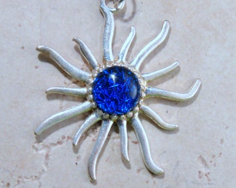 Fused Glass SUN Pendant...Fused BLUE Dichroic Silver Pendant