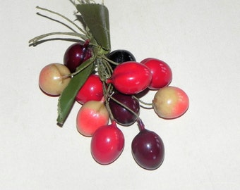 Vintage Cherry Fruit Cluster Millinery Berries Corsage
