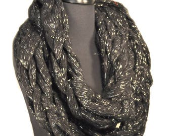 Super Chunky Black and Silver Infinity Scarf