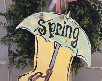 Spring door sign  - hand painted spring umbrella rain boot wooden cutoit  door sign umbrella wooden sign