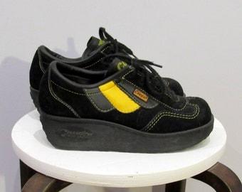 Cougar vintage 1970's platform wedge Black Suede Running Shoes size 7M