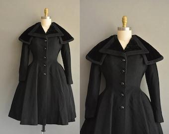 50s Rare Lilli Ann black vintage princess coat. vintage 1950s Lilli Ann coat