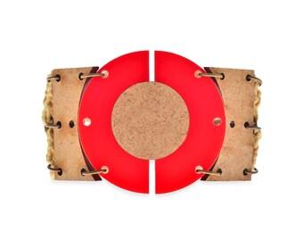 Geometric Red & Wood Cuff Bracelet, Wide Plastic Retro marni jewelry on sale 20% off
