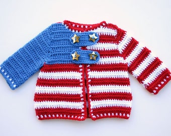 Baby jacket 3-6 month crochet patriotic summer sweater boy girl infant red white blue clothing stripes stars USA flag 4th of July