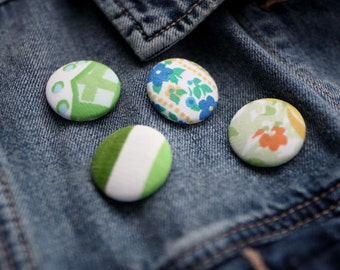 Fabric Button Pin | Lapel Pin | Brooch | Patterned Pin