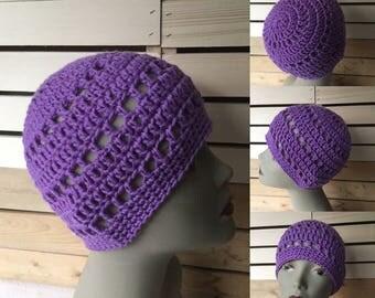 Ready to ship, Ladies Beanie Hat, Merino Wool,  Ladies Spring Hat, Hipster Spring Beanie, Teen Hat, Purple Spring Crochet Hat, Trendy Hat