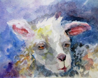 Sheep original 9x12 watercolor painting Art by Delilah