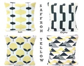 SALE Yellow Gray Pillow Covers Decorative Throw Pillows Cushions Saffron Yellow Charcoal Gray, Couch Bed, One or More Mix & Match ALL SIZES