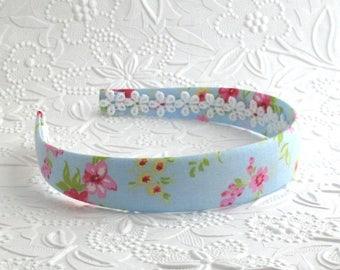 Floral Girls Headband ~ Light Blue Cottage Rose Fabric Covered Plastic Headband ~ Girls, Adults, Women