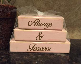 Always & Forever Wood Blocks - Mini Stacker