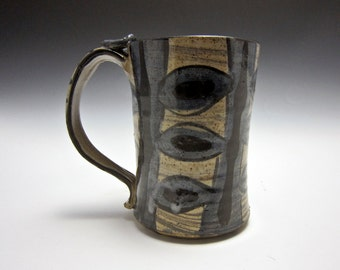 Large Ceramic Coffee Mug - Stoneware Tankard - Primitive Blue Black - Pottery Tea Mug - 20 ounce - Large Beer Mug - Rustic - Gift for Him