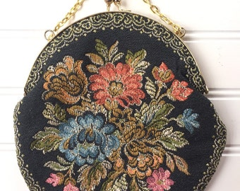 Tapestry Handbag - Vintage Tapestry Purse - Tapestry Evening Bag with Chain Handle