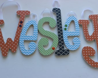 Home Decor for Kids Rooms, Wooden Letters, Name Signs, WESLEY'S Theme in Navy, Sky Blue, Lime and Orange, Customized, Nursery Wooden Letters