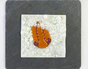 Fossil Phacops Trilobite Fused Glass Wall Panel