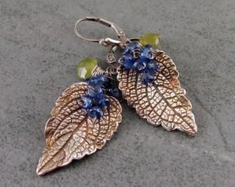 Mint leaf earrings, handmade eco friendly fine silver leaves with Kyanite and vesuvianite-OOAK envy designs original