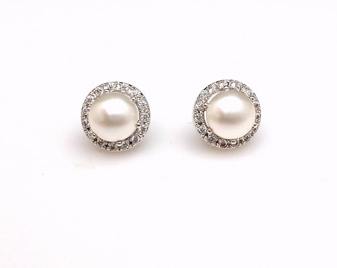 bridesmaid gift bridal earrings wedding jewelry half round pearl stud earrings post swarovski white cream pearl halo cubic zirconia rhodium
