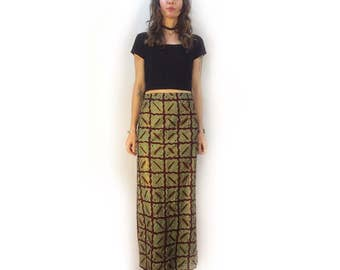 Vintage 90s african block print maxi skirt // boho gypsy hippie grunge // ethnic festival concert // spring summer