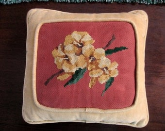vintage velvet PILLOW with embroidered flowers - yellow, square, throw pillow