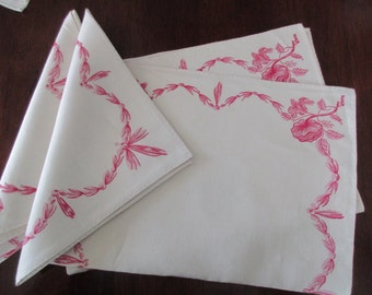 vintage linen placemats and matching napkins - pink, cream, floral