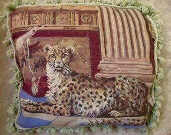 Large vintage needlepoint PILLOW with jaguar - tassels, wool, velvet