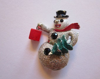 htf vintage HOLLYCRAFT snowman brooch with dangle present