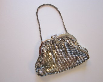 vintage Whiting & Davis silver mesh bag - chain handle, signed Whiting and Davis