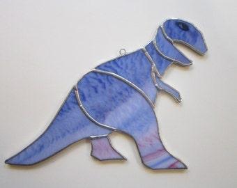 vintage handmade DINOSAUR stained glass - purple dinosaur, stained glass dinosaur