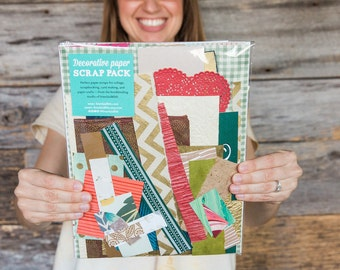 Decorative paper scrap pack for collage, scrapbooking, and paper crafts