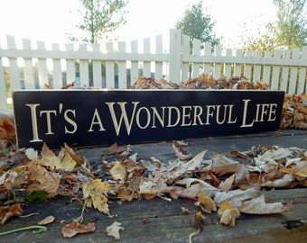 """The Best Gift Ever!  Its a Wonderful life Carved Wood Sign..... Wonderful Life Movie 6 """" x 30"""" Reclaimed wood Timbers carving"""