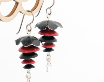 Black Red and Silver Earrings by Mandy Allen – Poppies collection