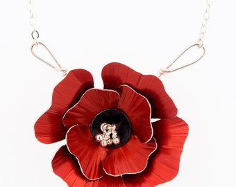 Poppy Necklace – Red Flower Necklace -Aluminum and Silver Jewelry by Mandy Allen
