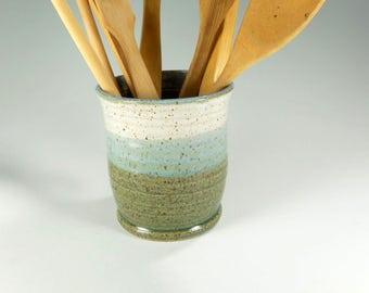 Ceramic utensil holder, kitchen utensil holder pot, stoneware utensils pot, pottery utensil holder, kitchen utensil storage, ceramic vase