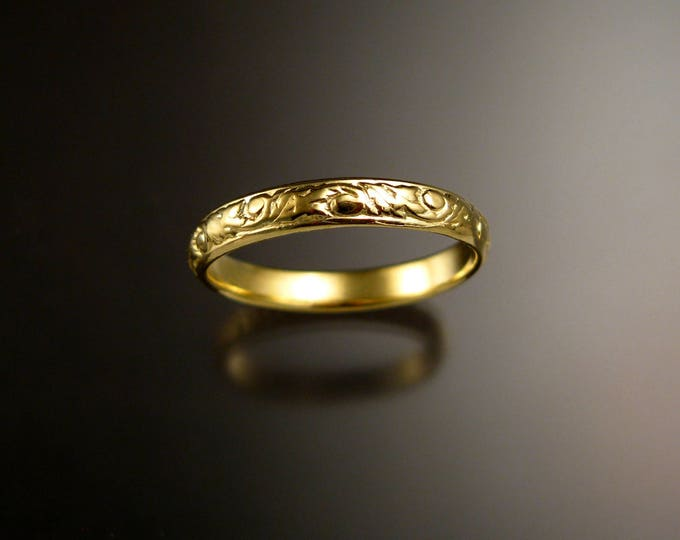 14k Green Gold 3.25 mm Floral pattern Band wedding ring made to order in your size Victorian wedding band