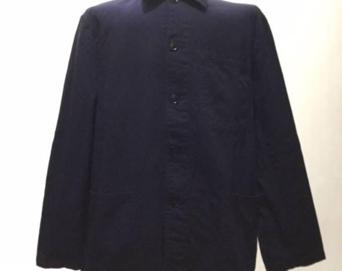 Vintage European Blue Cotton Button Up Distressed / Weathered Chore Coat  (os-ewj-7)