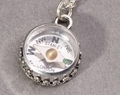 Silver Compass Necklace Working Compass Necklace Sterling Silver Compass Necklace