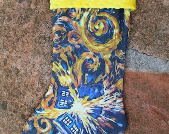 Exploding Blue Police Box Christmas stocking fully lined with soft Minky cuff