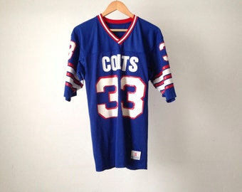 90s vintage INDIANAPOLIS COLTS nfl JERSEY football shirt t-shirt thick jersey shirt number 33