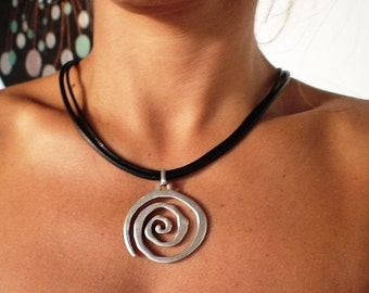 Spiral necklace, Black necklace, necklaces for women, statement necklaces, Pendant necklaces, fashion jewelry, costume jewelry