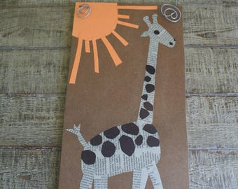 Giraffe art -- mixed media -- zoo, giraffes, animals