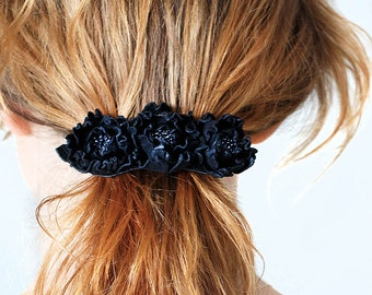Black flower french barrette, leather flower, hair clip, boho, goth, unique gift for her, hair accessory