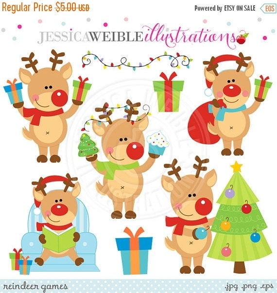 ON SALE Reindeer Games Cute Digital Clipart - Commercial Use OK - Christmas Reindeer Clipart, Christmas Graphics, Reindeer Clip Art