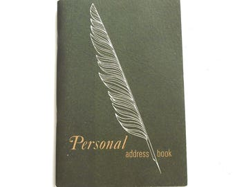 Vintage Address Book, Unused Book has Dark Green Cover with Feather Pen Illustration (A1)
